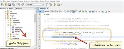 yii layout file yii framework with twitter bootstrap in netbeans