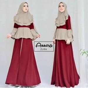 Pakaian Wanita Muslim Baju Syari Bergo 2 Layer Bordir Sumita 1 setelan baju gamis syari lengan terompet modern