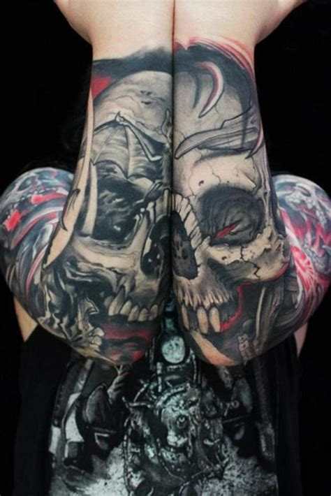 skeleton sleeve tattoo designs skull designsteulugar
