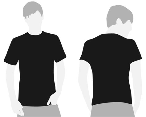 black t shirt template front and back clipart best