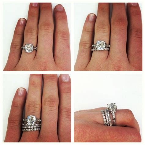 order of engagement ring and wedding band on finger