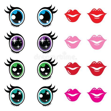 imagenes de ojos kawaii los iconos lindos de los ojos y de los labios de kawaii