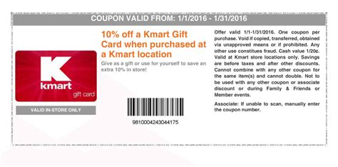 Kmart Gift Card - 10 discount on kmart gift cards in store exp 1 31