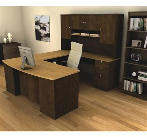 U Shaped Computer Desk With Hutch by Manhattan Collection Chocolate Maple U Shaped Desk And Hutch Computerdesk