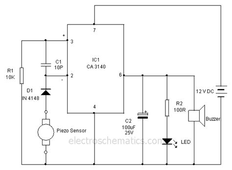 piezoelectric sensor circuit diagram piezoelectric heat sensor circuit