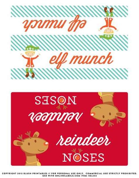 Christmas Bag Toppers Label Printable for Elf Munch