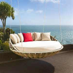 hanging round garden day bed sofa brown rattan cream cushions cover