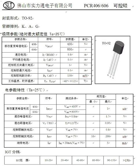 pcr406j datasheet pdf 0 8a 400v scr slt