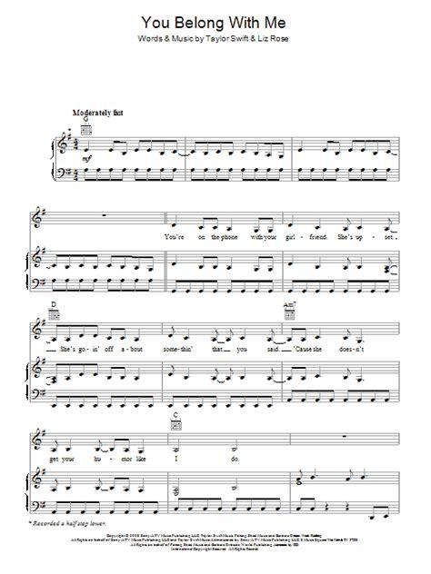 you belong with me guitar tutorial you belong with me sheet music direct
