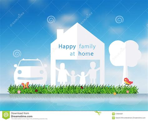 blue flower tree family symbolize happy home decor wall vector paper cut of happy family with home stock vector