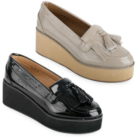 womens platform loafers 43h new womens patent platform chunky wedge loafer