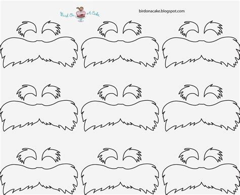 lorax mustache template bird on a cake dr seuss the lorax cupcakes
