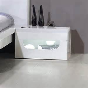 Flat Pack Storage Cabinets Pulse High Gloss Bedside Table In White With Led Lighting