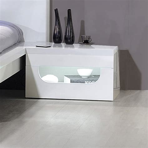 bed side pulse high gloss bedside table in white with led lighting