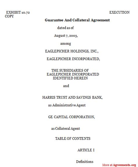 Personal Line Of Credit Agreement Template Guarantee And Collateral Agreement Sle Guarantee And Collateral Agreement Agreements Org