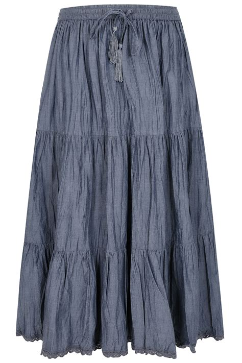 blue chambray tiered crinkle maxi skirt plus size 16 to 36