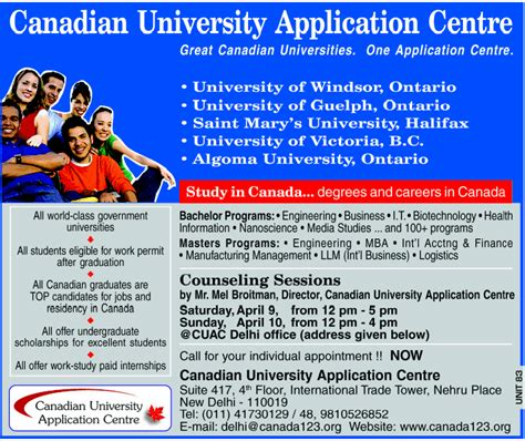 Post Mba Courses In Canada by Canadian Application Centre Projects Jugaad
