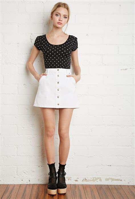 forever 21 button front denim skirt in white lyst
