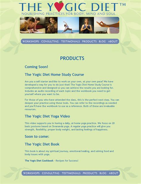 Yogic Diet by Wildly Attractive Website And Design