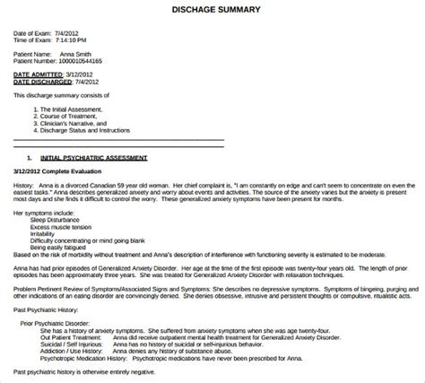 surgery discharge summary template sle discharge summary 13 documents in word pdf