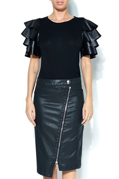 Best Leather by Gracia Ruffle Faux Leather Top From New York By Next