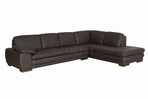 Brown Tufted Leather Right Facing Chaise Modern Sectional Sofa