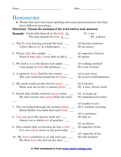 Homonym Worksheets by Printables Homonyms Worksheets Gozoneguide Thousands Of
