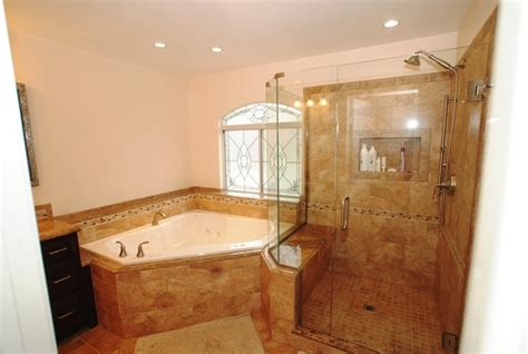 Corner Tub Shower Seat Master Bathroom Reconfiguration Corner Tub Bathroom Ideas
