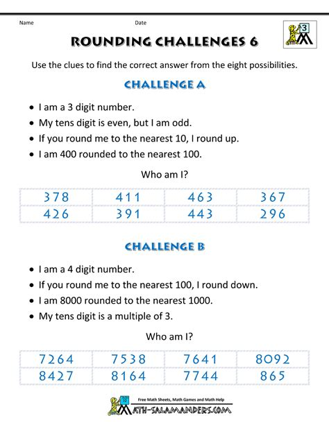 math rounding worksheets rounding numbers worksheet rounding challenges