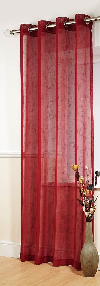 red linen curtains banbury red linen look panel net curtain 2 curtains