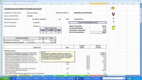 calculos de prestaciones sociales liquidacion lottt vigente bsf calculo de prestaciones sociales bajo lottt ley vigente