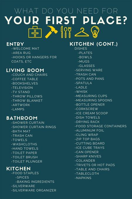 Things To Buy For First Home Checklist | new apartment checklist what you need aptsforrent