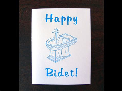 bidet jokes happy bidet letterpress birthday card