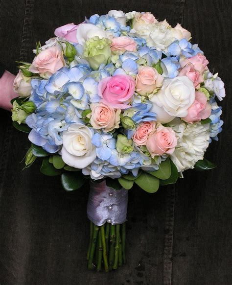 blue hydrangea bouquet with pink roses my wedding