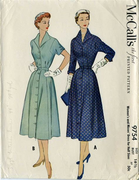 pattern for shirt dress mccalls 97541950s shirt dress pattern vintage size 16 1 2