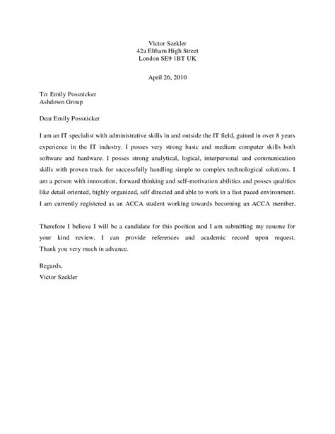 Qt Developer Cover Letter by Sle Of A Basic Cover Letter For Resume Docoments Ojazlink