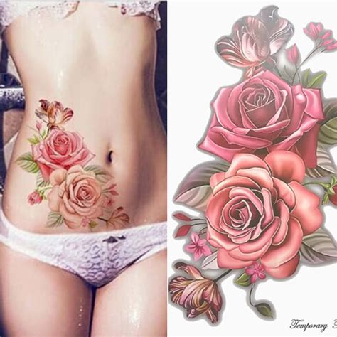 one piece fake tattoo beauty 1piece make up fake temporary tattoos stickers rose