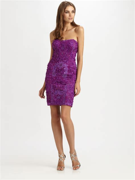 Trend Of The Week Purple Strapless Dresses by Sue Wong Embroidered Strapless Dress In Purple Lyst