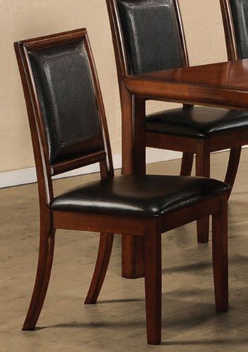 black friday set of 2 dining chairs black leather walnut