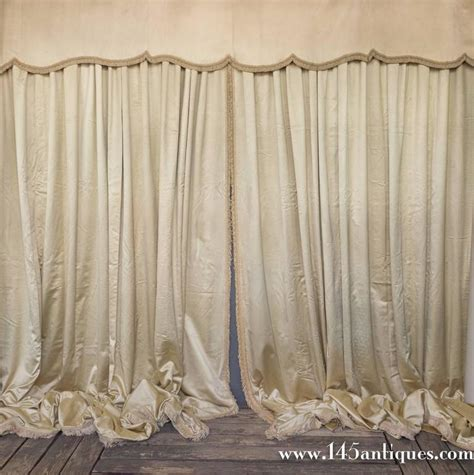 vintage drapes for sale very large pair of vintage french beige satin drapes with