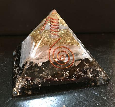 Orgonite Pyramid 1 orgone pyramid black tourmaline selenite gold silver