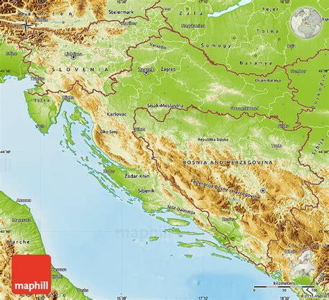 physical map of croatia physical map of croatia