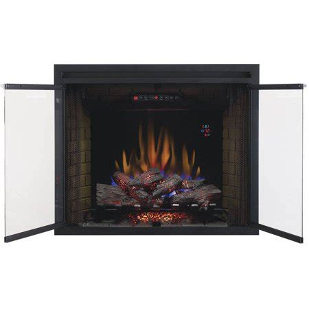 built in fireplace screens 39 quot traditional built in electric fireplace insert with glass door and mesh screen dual voltage