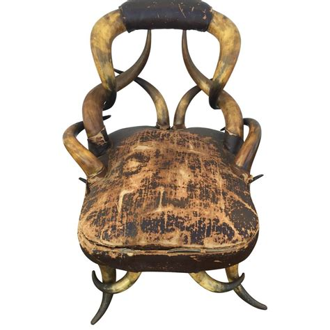 19th century longhorn chair attributed to teddy roosevelt