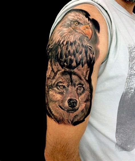 tattoo eagle and wolf accurate painted and colored very detailed eagle and wolf