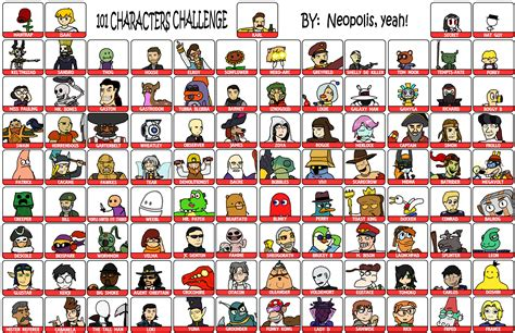 List Of Meme - 101 characters meme final by neopolis on deviantart