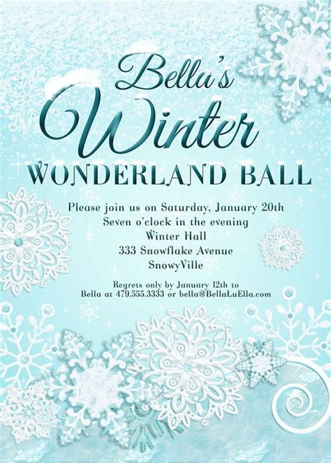 Snowflake Invitation Frozen Pinterest Snowflake Invitations Sweet 16 And Winter Free Winter Invitations Templates