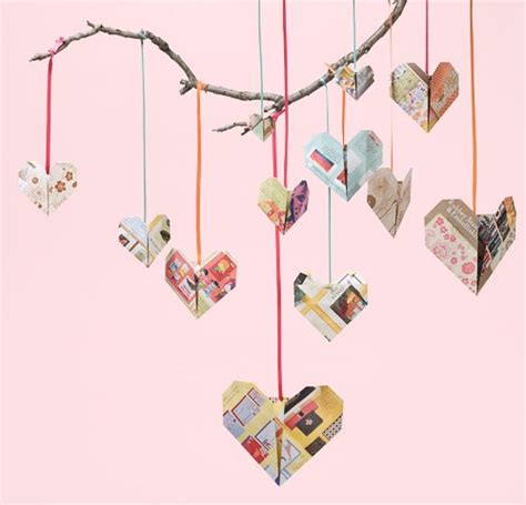 Origami Source - how to recycled origami hearts