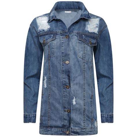 Premium Denim Jacket Ripped new womens distressed look sleeve ripped denim jacket