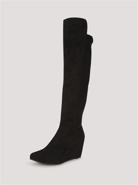 buy aq wedge heeled high boots for s black